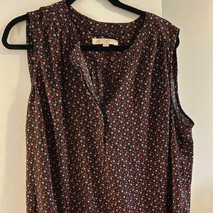 Loft sleeveless floral blouse